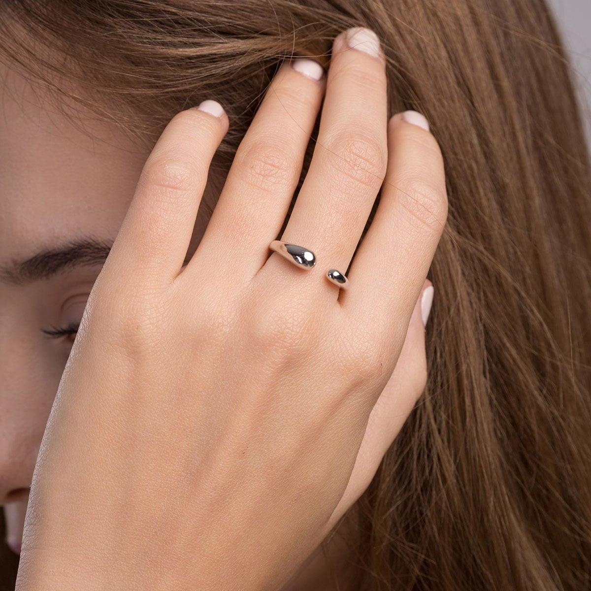 Inel din argint Manissi Heavy Drop Gold