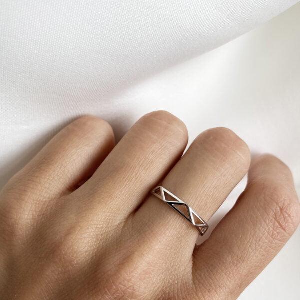 Inel din argint Manissi Triangle