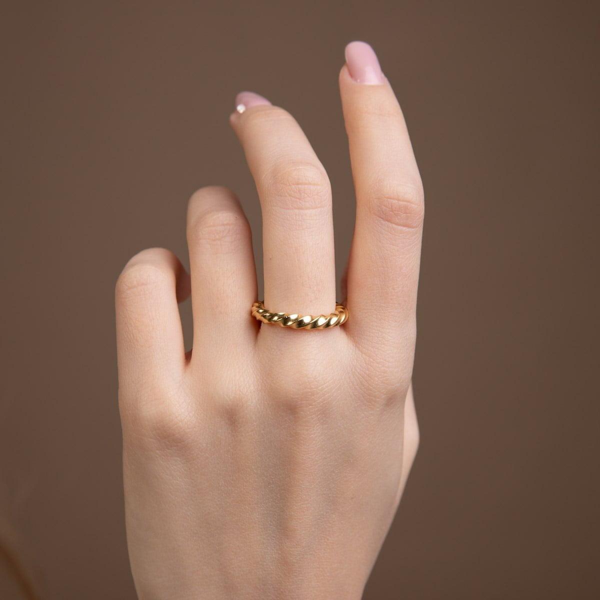 Inel din argint Manissi Reverse Twist placat cu aur 18k
