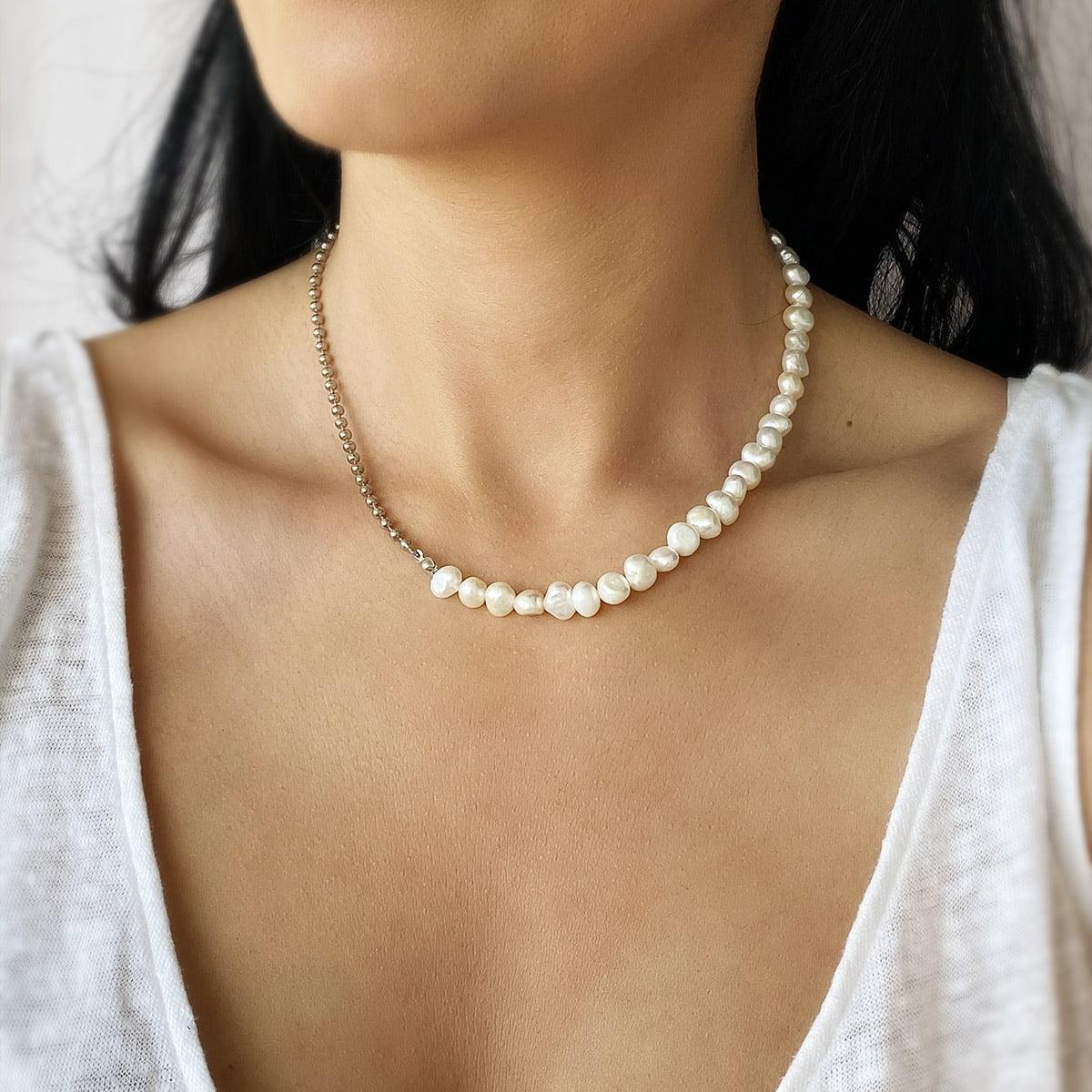 Lant din argint Manissi Organic Pearls