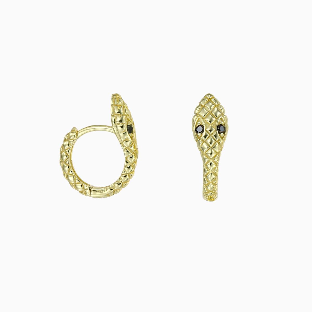 Cercei din argint Manissi Snake Hoop Gold