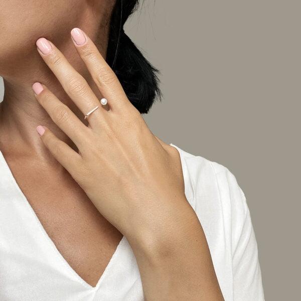Inel din argint Manissi Minimal Pearl