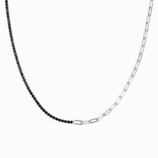 Lant din argint tennis Manissi Black cu zirconia negre