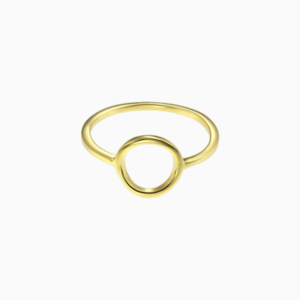 inel din argint cu cerc placat cu aur 18k