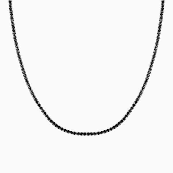 lant din argint tennis cu pietre negre
