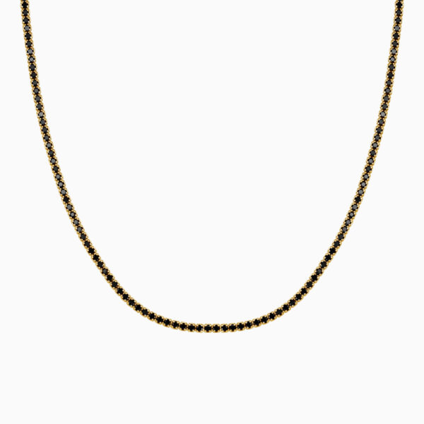 lant din argint tennis cu pietre negre placat cu aur galben