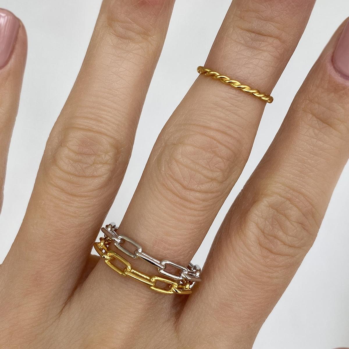 Inel din argint Manissi Chain Gold